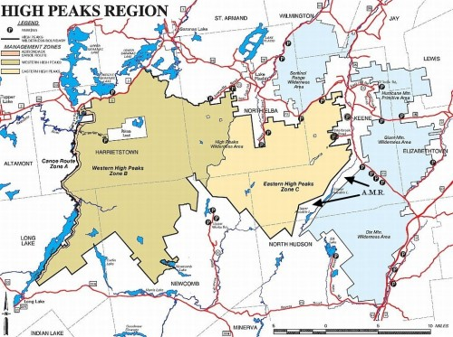 High Peaks Wilderness Zones - Map
