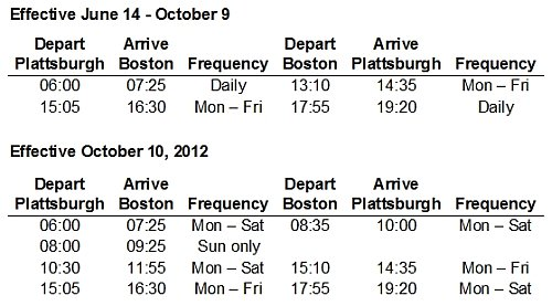PenAir Schedule - Plattsburgh/Boston