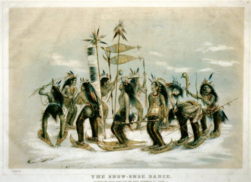 The snow-shoe dance: to thank the great spirit for the first appearance of snow