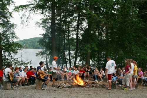 Camp Colby DEC  Environmental Education Camp fire sing-a-long