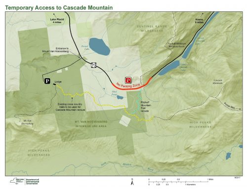 Temporary Access to Cascade Mountain Map