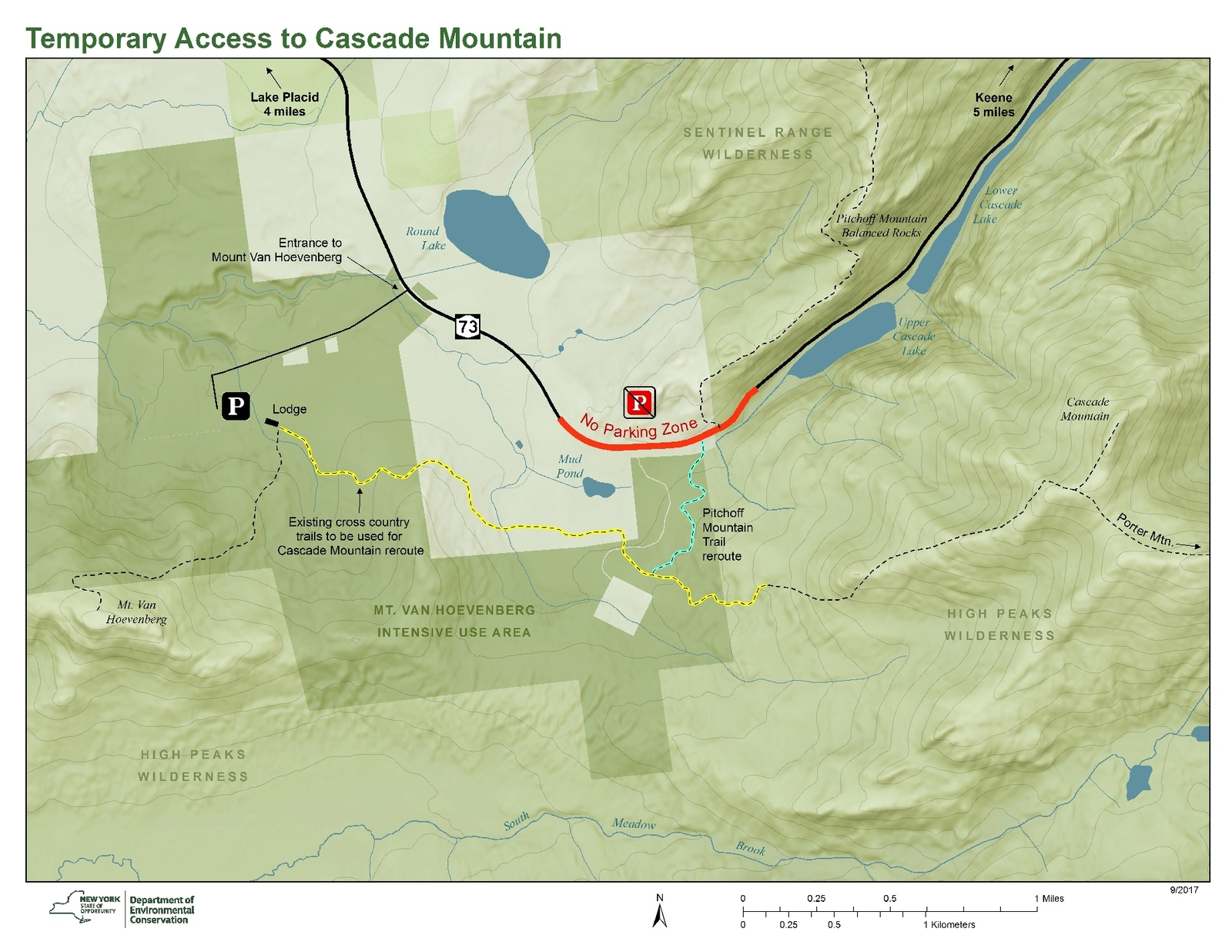 Cascade Mt Trailhead and Parking – Temporary Relocation and Reroute on