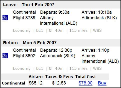 Continental Flight Deal - Albany - Saranac Lake