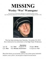 MISSING: Wesley 'Wes' Wamsganz