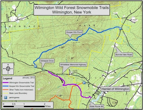 Wilmington Wild Forest Snowmobile Trails - Map